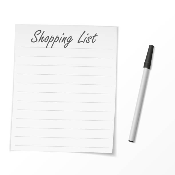 Shopping list paper and pen Compatible with Adobe Illustrator version 10, No raster and is easy to edit, Illustration contains transparency and blending effects shopping list stock illustrations