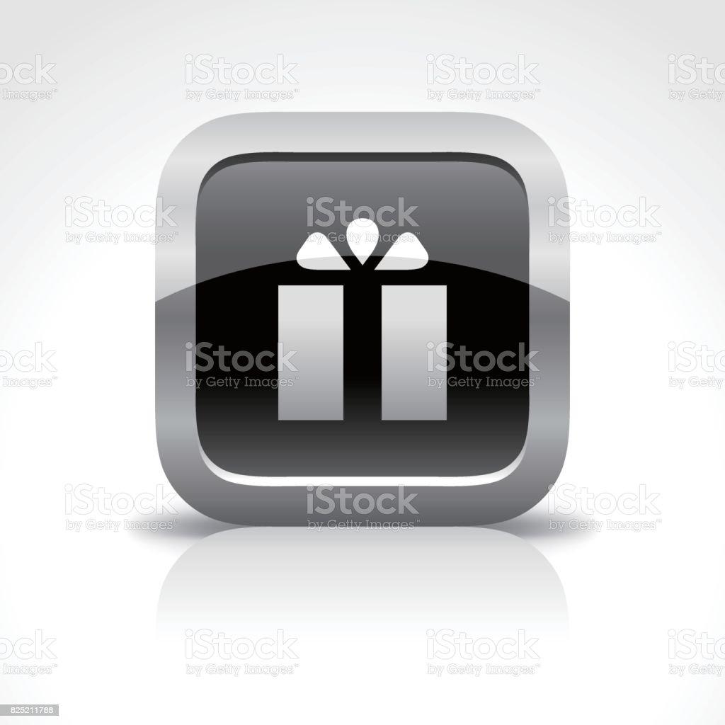 ショッピング モール、ギフトの光沢のあるボタンのアイコン ベクターアートイラスト