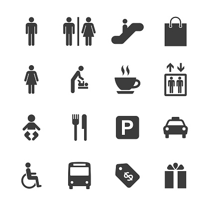 Shopping Mall and Public Icons Set