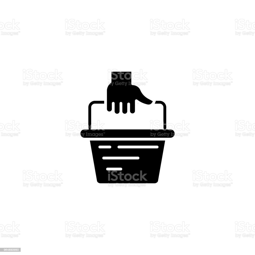 Shopping mall basket black icon concept. Shopping mall basket flat  vector symbol, sign, illustration. royalty-free shopping mall basket black icon concept shopping mall basket flat vector symbol sign illustration stock vector art & more images of bag