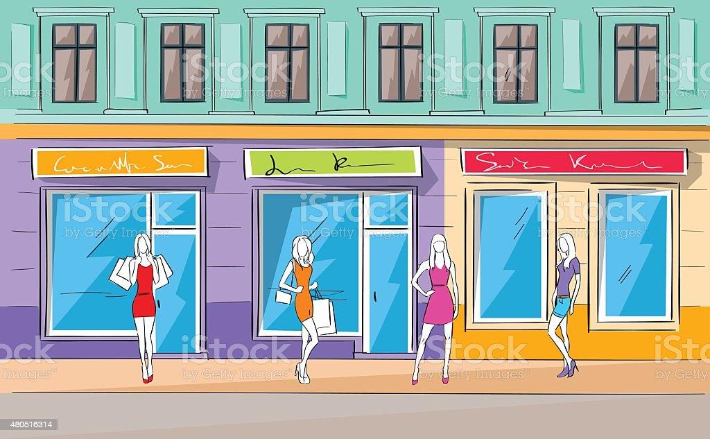 Shopping Mall Building Exterior Fashion Woman Shop Vector vector art illustration
