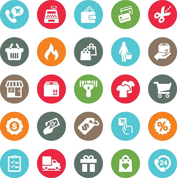 bildbanksillustrationer, clip art samt tecknat material och ikoner med shopping mall circle colour harmony icons | eps10 - on demand