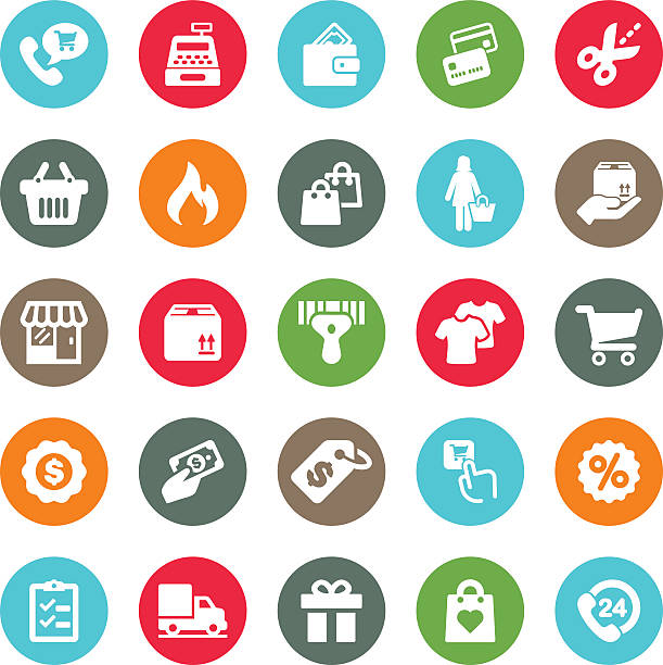 ilustrações de stock, clip art, desenhos animados e ícones de shopping mall circle colour harmony icons | eps10 - online shopping