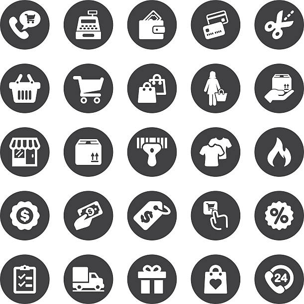 stockillustraties, clipart, cartoons en iconen met shopping mall circle silhouette icons | eps10 - call center