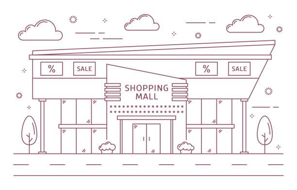 ilustrações, clipart, desenhos animados e ícones de edifício cidade de shopping center. - shopping