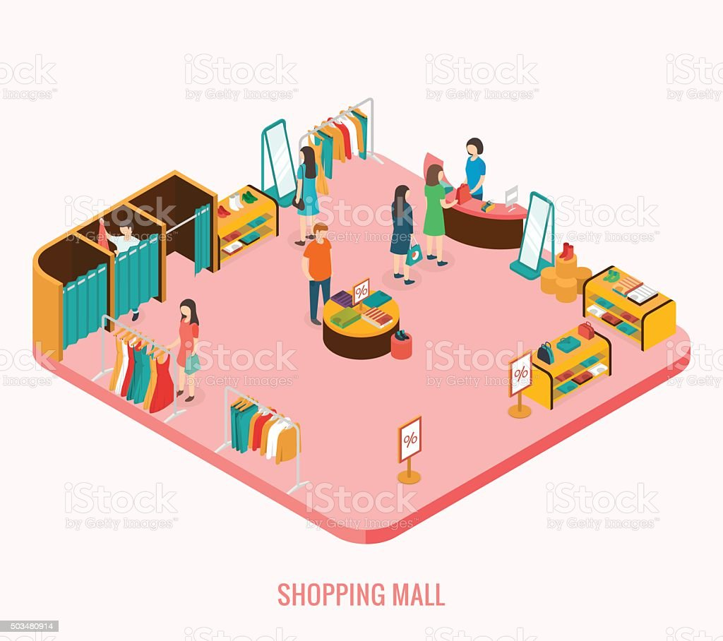 Shopping mall concept. vector art illustration