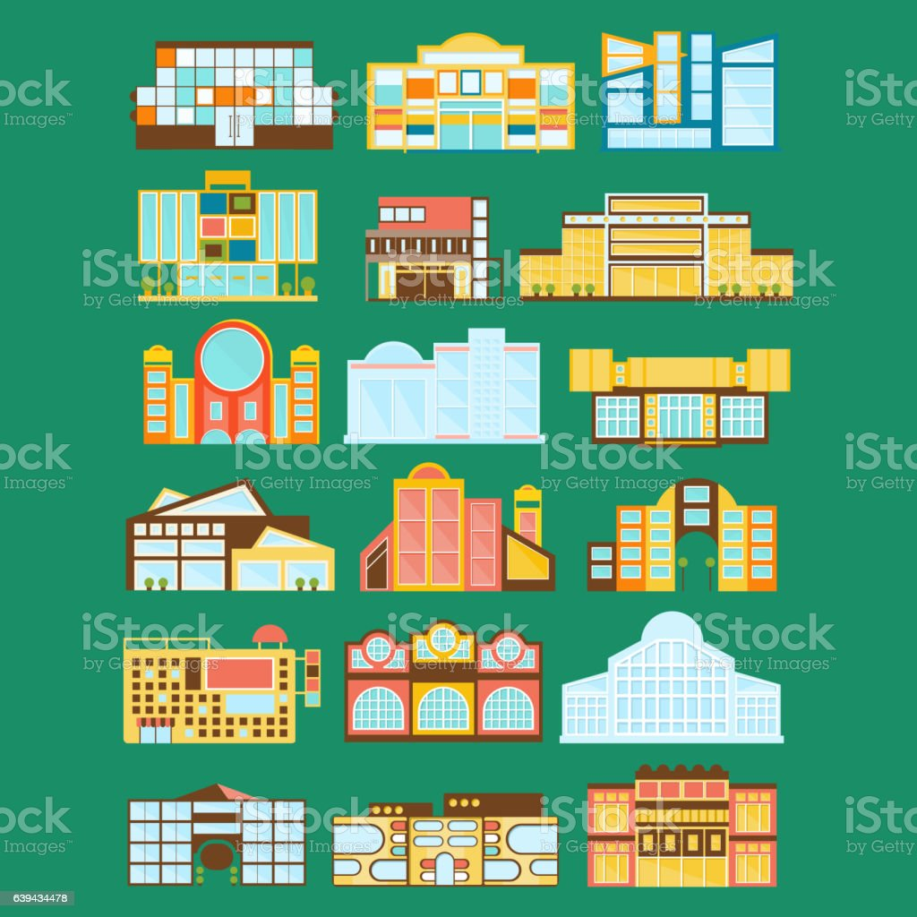 Shopping Mall, Department Store And Supermarket Shops Architecture Ideas Set vector art illustration