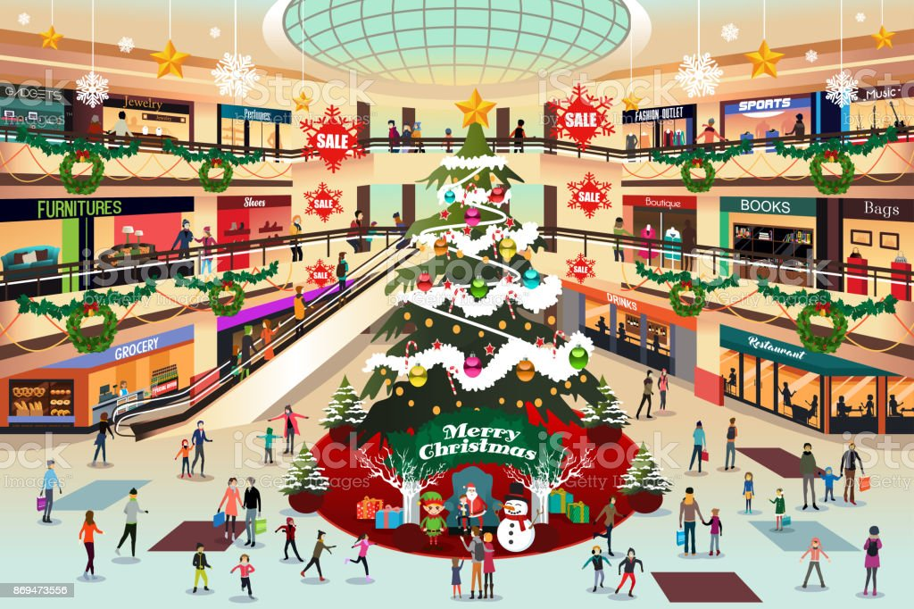 Shopping Mall During Christmas Illustration Stock Vector ...