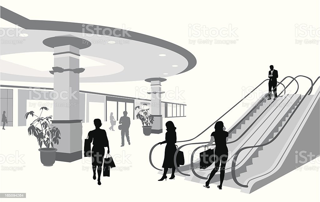 Shopping Mall Escalator Vector Silhouette royalty-free stock vector art