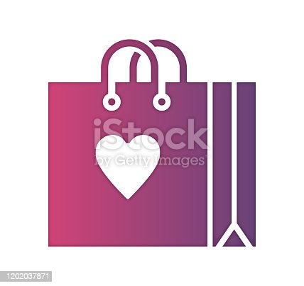 Shopping mall design with gradient fill painted by path of the icon. Papercut style graphic can also be used as simple vector template for silhouette illustrations.