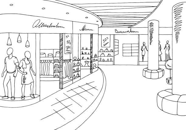 ilustrações, clipart, desenhos animados e ícones de ilustração do esboço interior branco preto gráfico da alameda de compra - shopping