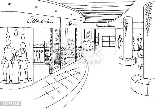 Shopping Mall Graphic Black White Interior Sketch