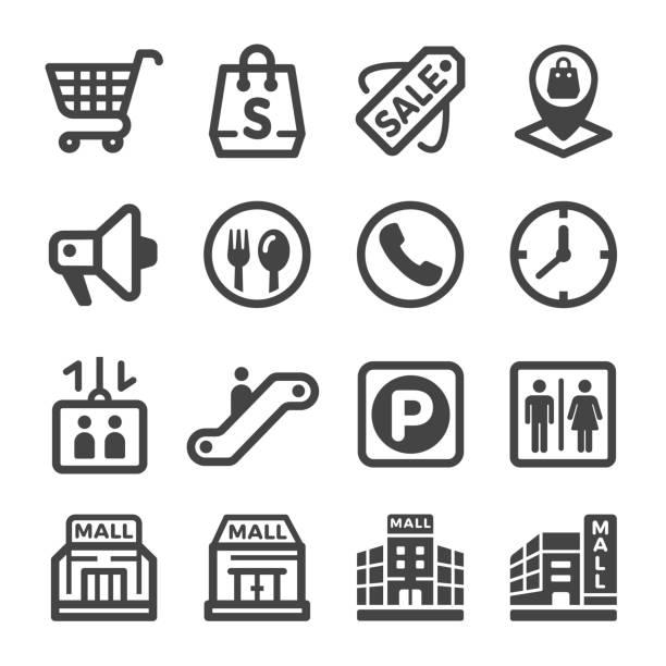 ilustrações, clipart, desenhos animados e ícones de ícone de shopping center - shopping