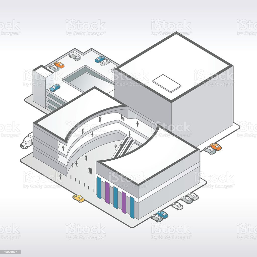 Shopping Mall Illustration vector art illustration
