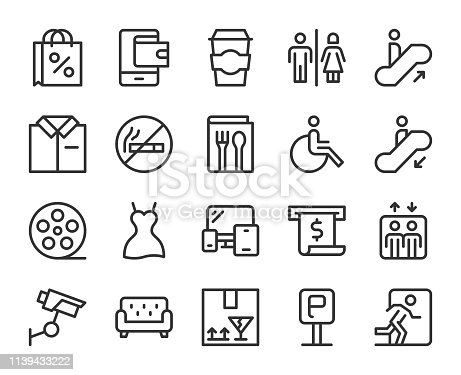 Shopping Mall Line Icons Vector EPS File.
