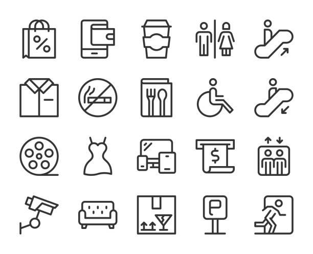 stockillustraties, clipart, cartoons en iconen met shopping mall-lijn iconen - cell phone toilet