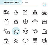 20 Outline Style - Black line - Pixel Perfect icons / Shopping Mall Set #95 Icons are designed in 48x48pх square, outline stroke 2px.  First row of outline icons contains:  Delivery Truck, Hot Price, Shirt icon, Bank Building, Shopping Centre;  Second row contains:  T-shirt icon, ATM, Shield, Shopping Basket, Hamburger;  Third row contains:  Credit Cart Payment, Shopping Cart, Headset, Hand Truck, Wallet;   Fourth row contains:  Shopping Bag, Sales, Piggy Bank, Gift, Online Shopping.  Complete Primico collection - https://www.istockphoto.com/collaboration/boards/NQPVdXl6m0W6Zy5mWYkSyw