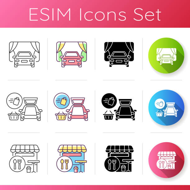 Shopping mall products and services icons set Shopping mall products and services icons set. Curbside pickup delivery. Drive in movie theater. Food court. Linear, black and RGB color styles. Isolated vector illustrations curbsidepickup stock illustrations