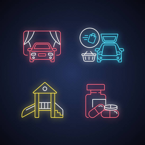 Shopping mall products and services neon light icons set Shopping mall products and services neon light icons set. Curbside pickup delivery. Drive in movie theater. Children play area. Signs with outer glowing effect. Vector isolated RGB color illustrations curbsidepickup stock illustrations