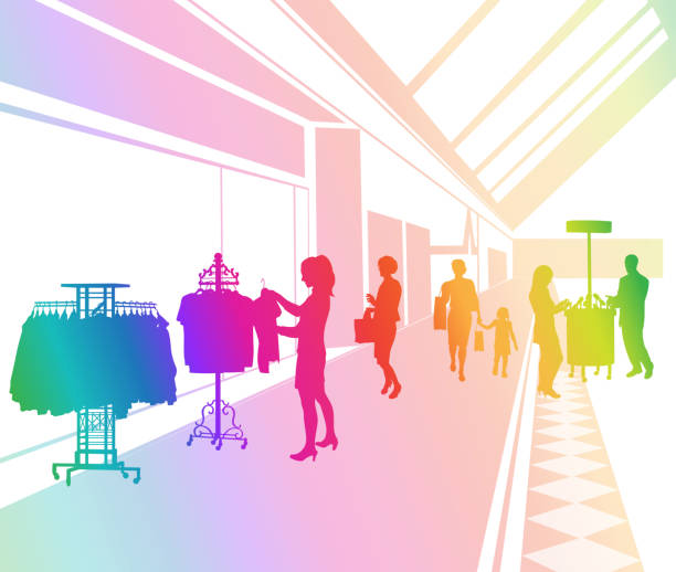 Shopping Mall Rainbow vector art illustration