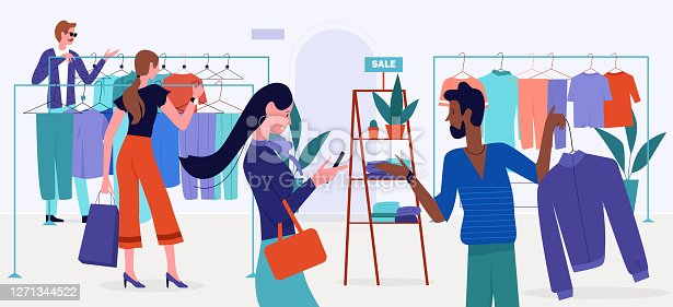 Shopping mall sales vector illustration, cartoon flat customer buyer people choose clothes hanging on hangers of retail store, shop or boutique modern interior