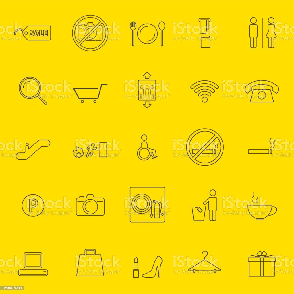shopping mall thin line icons vector art illustration