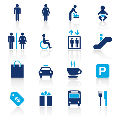 Shopping Mall Two Color Icons Set