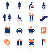 An illustration of shopping mall two color icons set for your web page, presentation, apps and design products. Vector format can be fully scalable & editable.