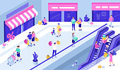 Happy people at shopping mall. Can use for web banner, infographics, hero images. Flat isometric vector illustration.