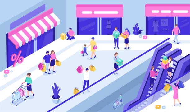 shopping mall - shopping stock illustrations, clip art, cartoons, & icons