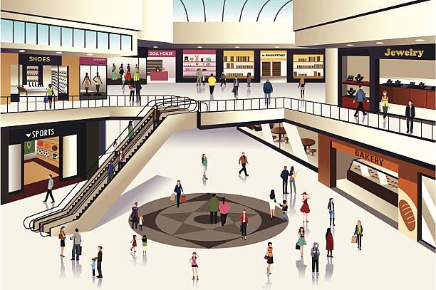 ilustrações, clipart, desenhos animados e ícones de shopping mall - shopping