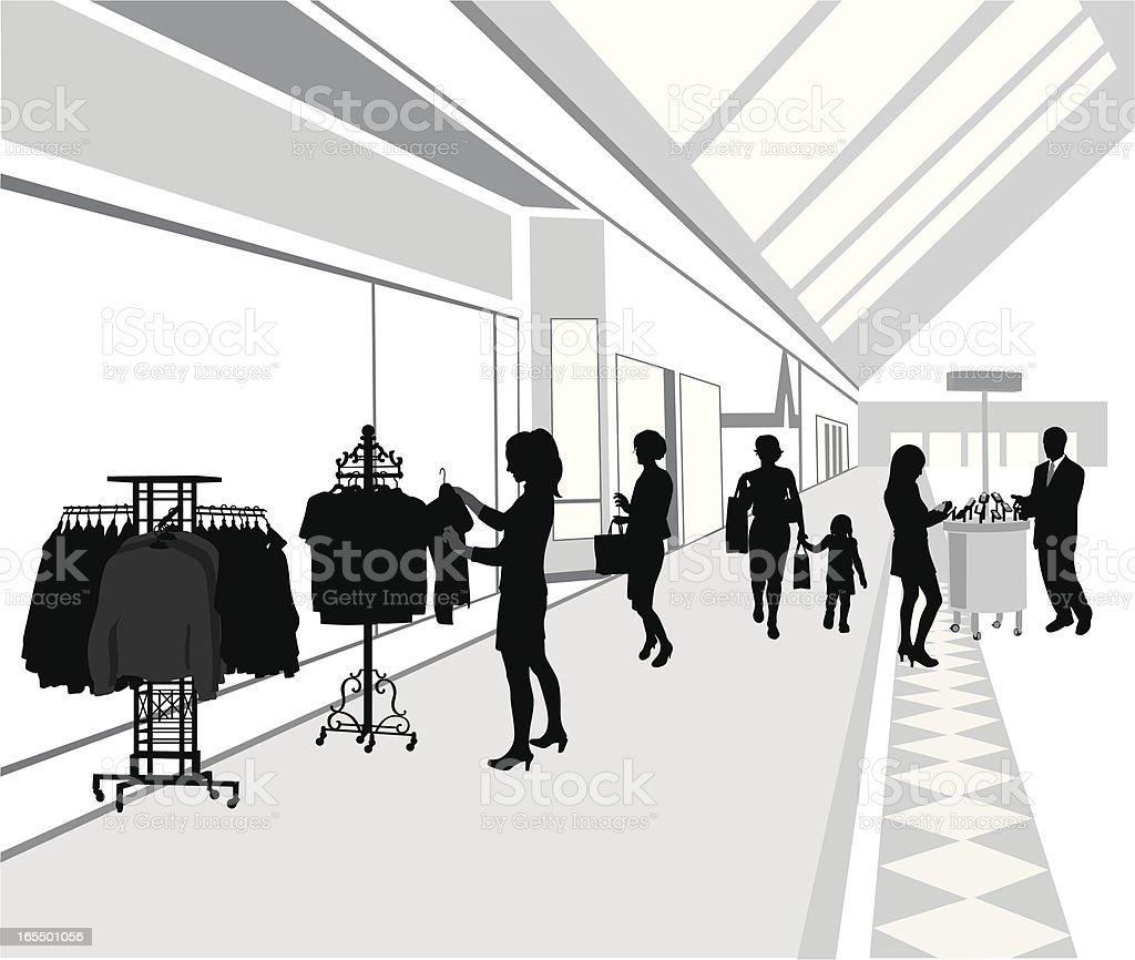 Shopping Mall Vector Silhouette vector art illustration