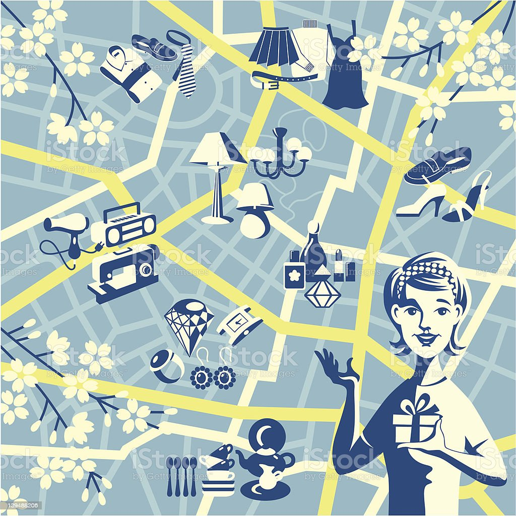 Shopping map royalty-free stock vector art