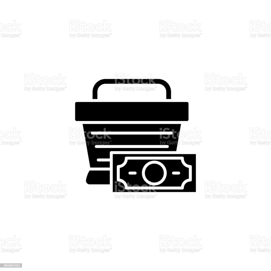 Shopping market basket black icon concept. Shopping market basket flat  vector symbol, sign, illustration. royalty-free shopping market basket black icon concept shopping market basket flat vector symbol sign illustration stock vector art & more images of bag