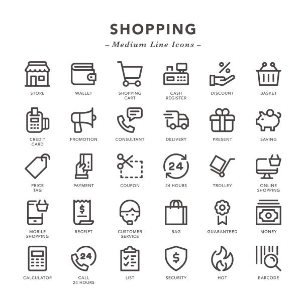 Shopping - Medium Line Icons Shopping - Medium Line Icons - Vector EPS 10 File, Pixel Perfect 30 Icons. shopping list stock illustrations