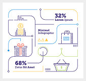 Vector Infographic Line Design Elements for Shopping