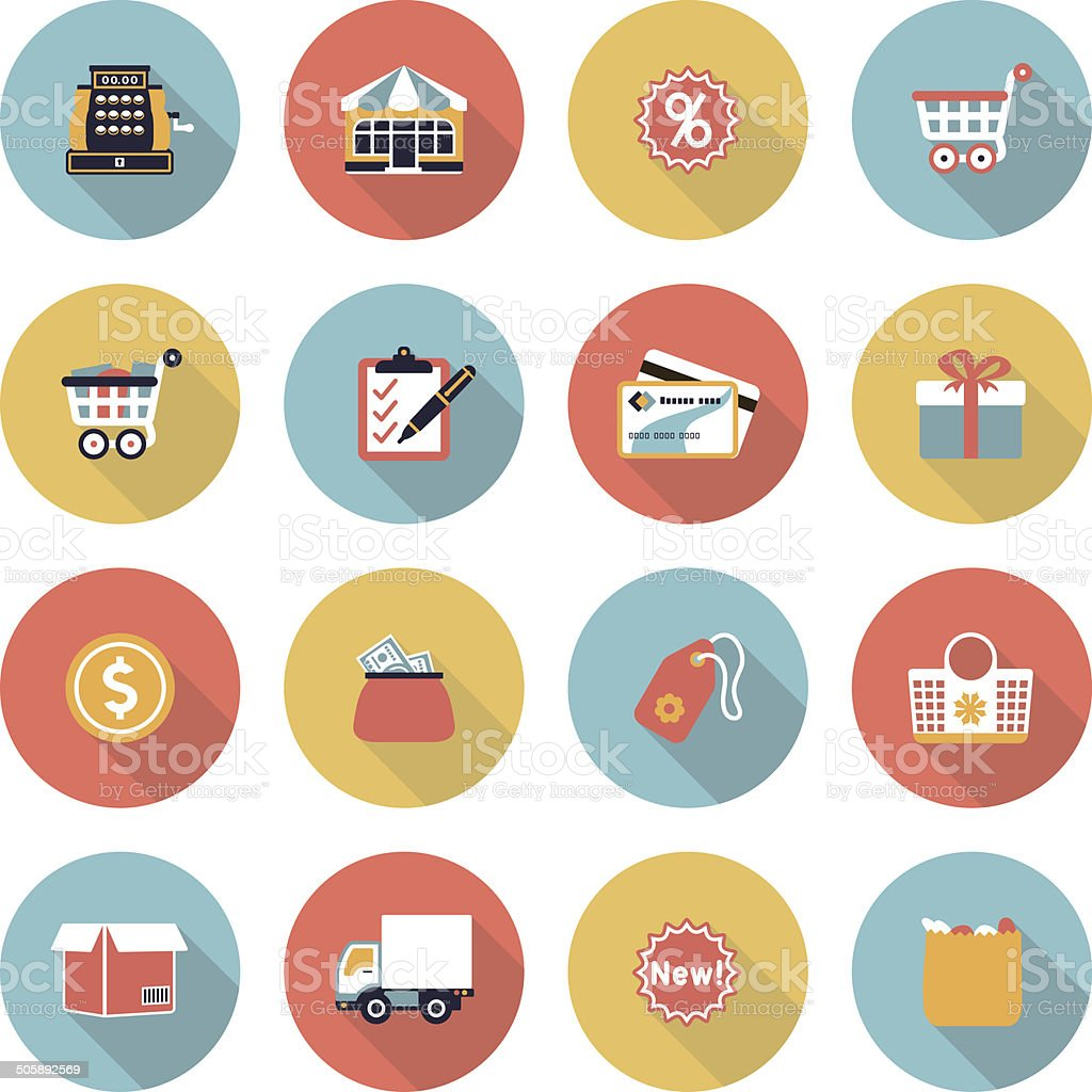 Shopping modern flat color icons. vector art illustration