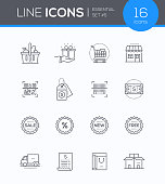 Shopping - modern vector colorful icons set