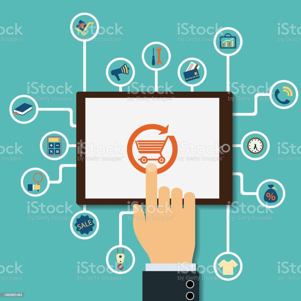 Shopping on the Internet. vector art illustration