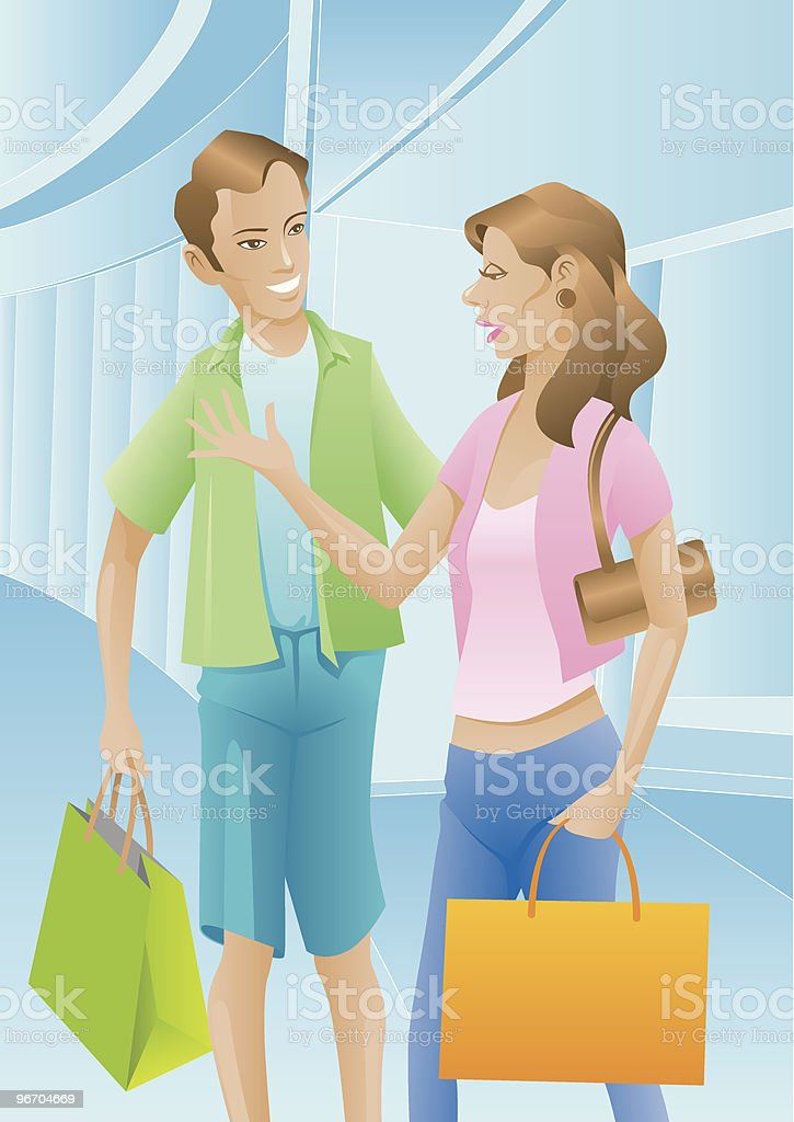 Shopping on Weekend royalty-free stock vector art