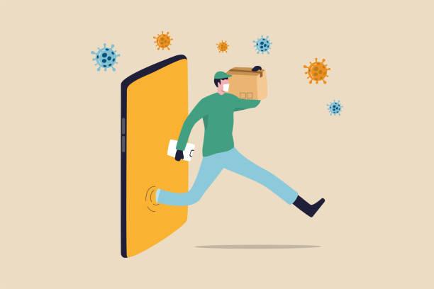 online-shopping und schneller versand während selbst quarantäne in der sozialen entfernung coronavirus covid-19 ausbruch konzept, agile zusteller laufen von smartphone-shopping-website-paket zum kunden - smartphone mit corona app stock-grafiken, -clipart, -cartoons und -symbole