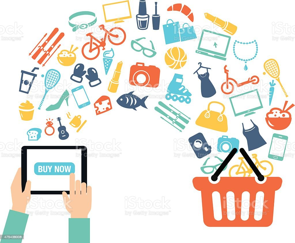Shopping Online Background vector art illustration