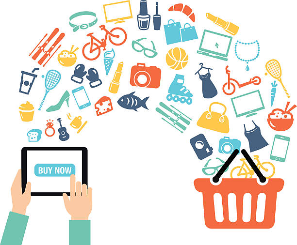 Shopping Online Background Shopping background concept with icons - shopping online, using a PC, tablet or a smartphone. Can be used to illustrate mobile communication topics or consumerism. for sale stock illustrations