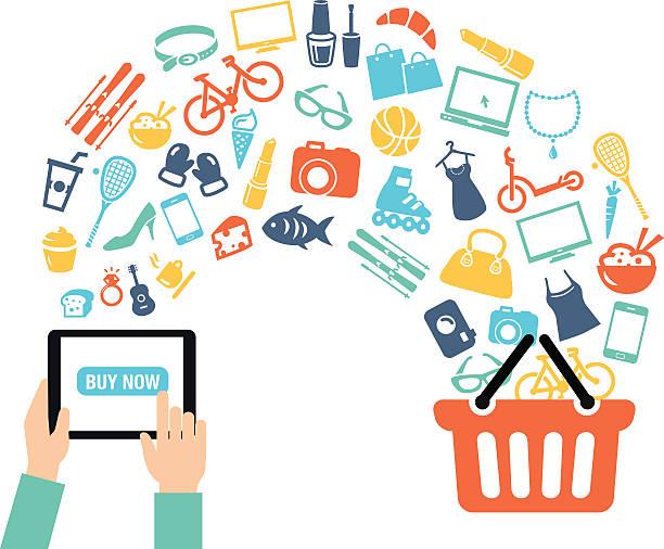 zakupy online tle - online shopping stock illustrations