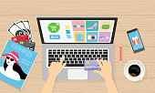 Online store or e-commerce store concept on smart device. Flat Illustration style.