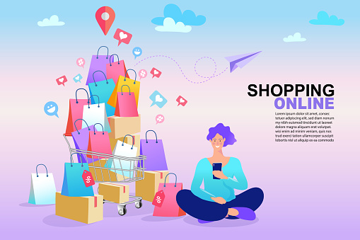 Shopping online concept. Colorful paper shopping bags in shopping trolley on bright background. Man use cellphone and holding shopping bags. Vector