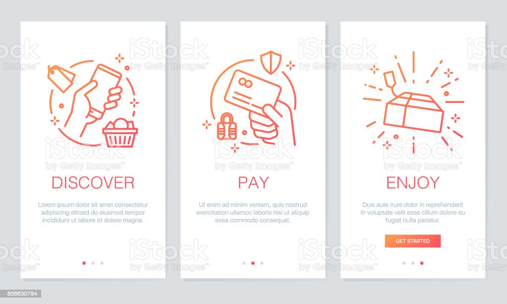 Shopping online concept onboarding app screens. Modern and simplified vector illustration walkthrough screens template for mobile apps.