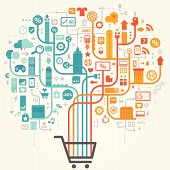 Shopping Online Design - Concept. Very easy to manipulate, elements are placed on different layers.