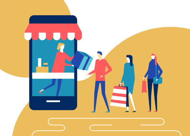 ilustrações de stock, clip art, desenhos animados e ícones de shopping online - flat design style colorful illustration - store