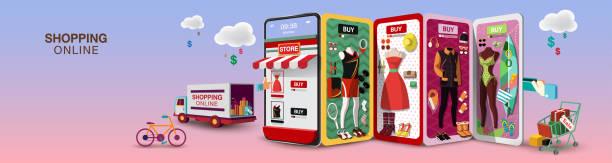 ilustrações de stock, clip art, desenhos animados e ícones de shopping online for women on mobile phone - online shopping